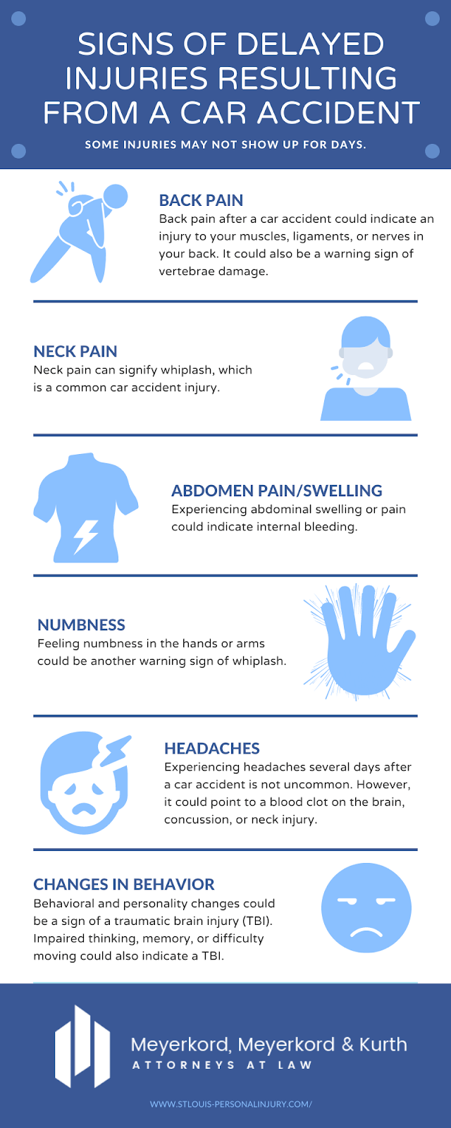 infographic of signs of delayed injuries resulting from a car accidents